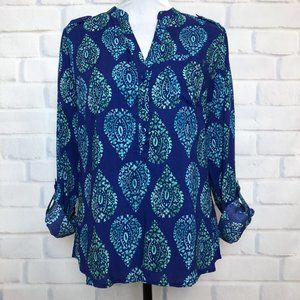 NWT The Limited Blue Print Popover Blouse